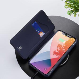iPhone 12 iPhone 12 Pro kunstnahast kaaned kaarditaskuga DUX DUCIS Skin X sinine 6