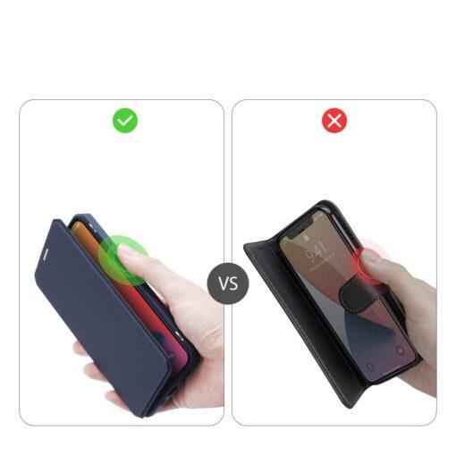 iPhone 12 iPhone 12 Pro kunstnahast kaaned kaarditaskuga DUX DUCIS Skin X sinine 8