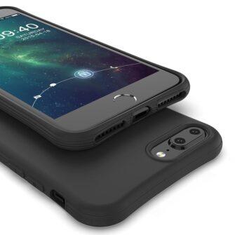 iPhone 7 ja 8 Plus ümbris silikoonist tugevdatud nurkadega must 2