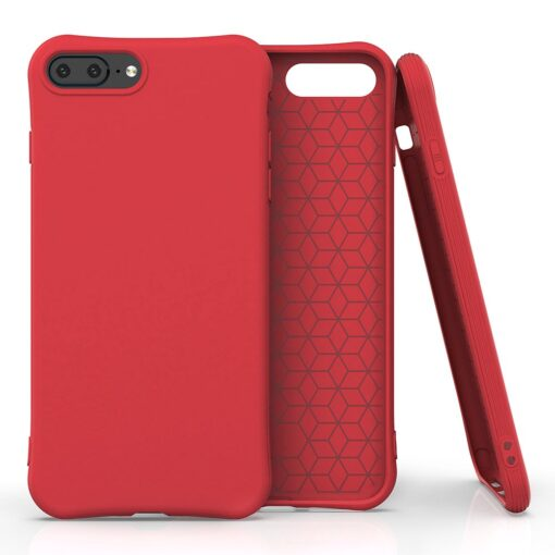 iPhone 7 ja 8 Plus ümbris silikoonist tugevdatud nurkadega punane