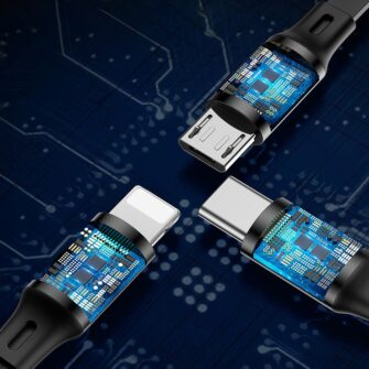3in1 laadija juhe Micro USB Lightning USB C 1.2m Baseus Golden CAMLT JH01 must 10