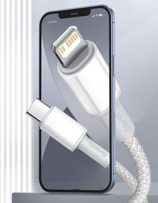 Baseus USB Type C Lightning laadimiskaabel PD 20W 2m CATLGD A02 valge 11