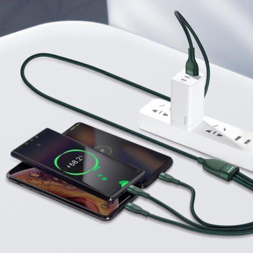 Basues 3in1 laadija USB Lightning USB Type C Micro USB 1.2m 5A 480 Mbps CA1T3 06 roheline 11