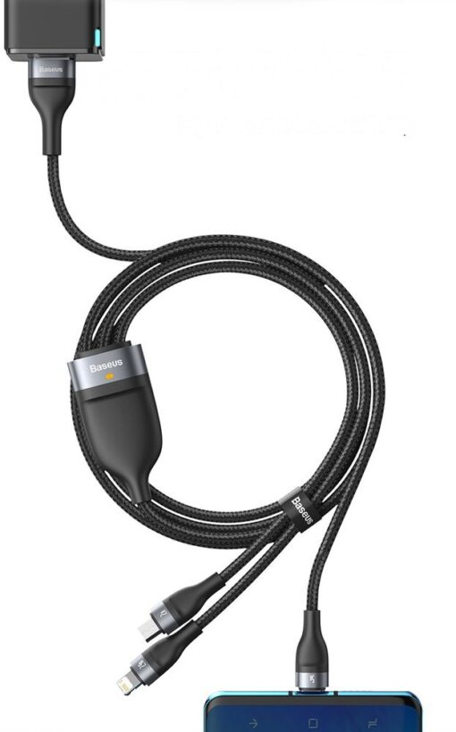 Basues 3in1 laadija USB Lightning USB Type C Micro USB 1.2m 5A 480 Mbps CA1T3 06 roheline 20
