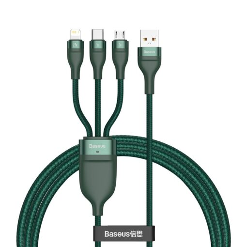 Basues 3in1 laadija USB Lightning USB Type C Micro USB 1.2m 5A 480 Mbps CA1T3 06 roheline