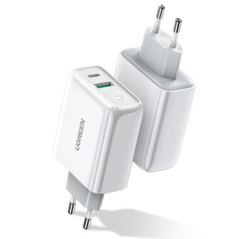 Ugreen seinaadapter USB C ja USB valjundiga 36W QC 3.0 ja PD 3.0 60468 CD170 valge