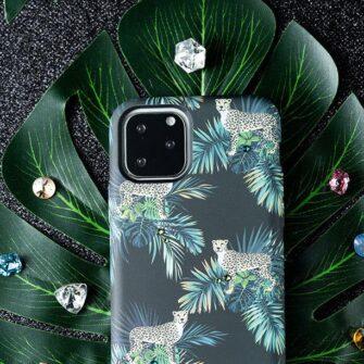 iPhone 11 umbris Kingxbar Forest Seeria Swarowski pimedas helendav leaf 7