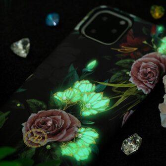 iPhone 11 umbris Kingxbar Forest Seeria Swarowski pimedas helendav lilla 1