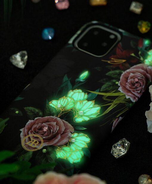 iPhone 11 umbris Kingxbar Forest Seeria Swarowski pimedas helendav roosa 1
