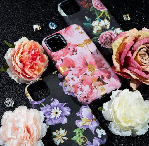 iPhone 11 umbris Kingxbar Forest Seeria Swarowski pimedas helendav roosa 12