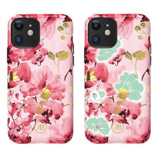 iPhone 11 umbris Kingxbar Forest Seeria Swarowski pimedas helendav roosa