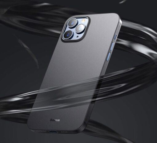 iPhone 12 12 Pro Baseus Wing Case Ultrathin plastikust umbris must 6