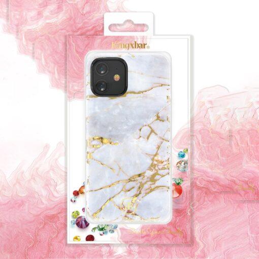 iPhone 12 12 Pro umbris Kingxbar Marble Seeria helesinine 4