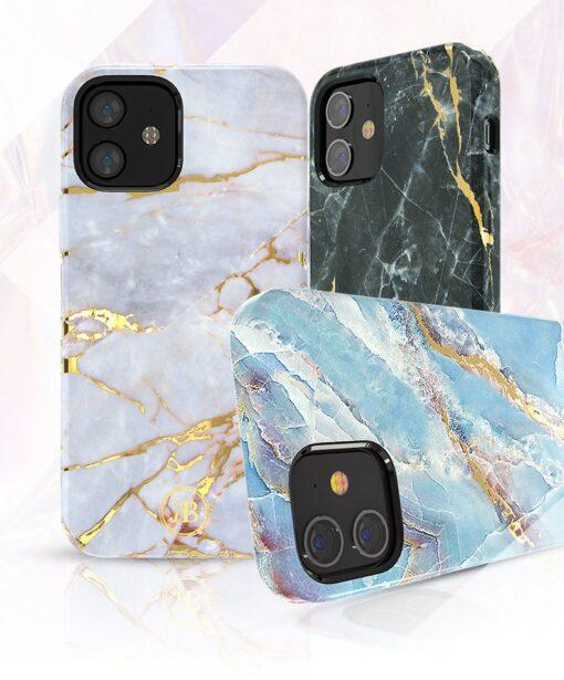 iPhone 12 12 Pro umbris Kingxbar Marble Seeria sinine 2