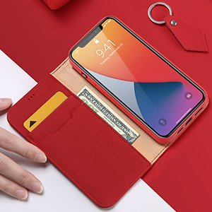 iPhone 12 Pro Max kaaned päris nahast kaarditasku rahataskuga DUX DUCIS Wish must 16