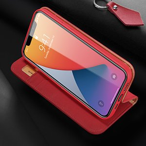 iPhone 12 Pro Max kaaned päris nahast kaarditasku rahataskuga DUX DUCIS Wish punane 10