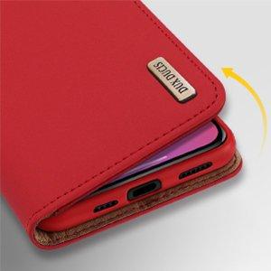 iPhone 12 Pro Max kaaned päris nahast kaarditasku rahataskuga DUX DUCIS Wish punane 12
