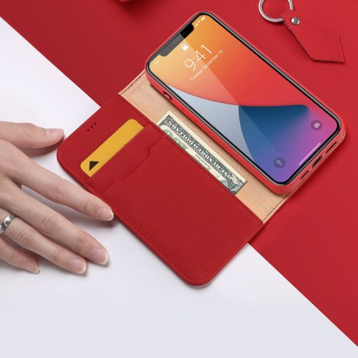 iPhone 12 Pro Max kaaned päris nahast kaarditasku rahataskuga DUX DUCIS Wish punane 2