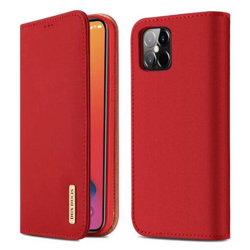 iPhone 12 Pro Max kaaned päris nahast kaarditasku rahataskuga DUX DUCIS Wish punane