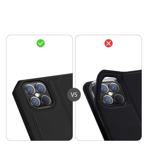 iPhone 12 Pro Max kunstnahast kaaned kaarditaskuga DUX DUCIS Skin X must 10