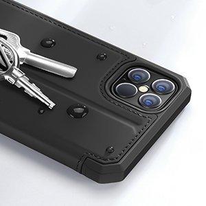 iPhone 12 Pro Max kunstnahast kaaned kaarditaskuga DUX DUCIS Skin X must 12