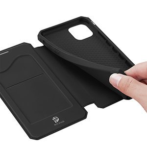 iPhone 12 Pro Max kunstnahast kaaned kaarditaskuga DUX DUCIS Skin X must 20