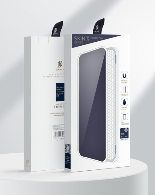 iPhone 12 Pro Max kunstnahast kaaned kaarditaskuga DUX DUCIS Skin X must 4