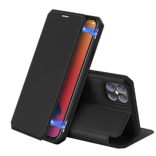 iPhone 12 Pro Max kunstnahast kaaned kaarditaskuga DUX DUCIS Skin X must
