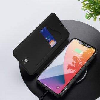 iPhone 12 Pro Max kunstnahast kaaned kaarditaskuga DUX DUCIS Skin X must 7