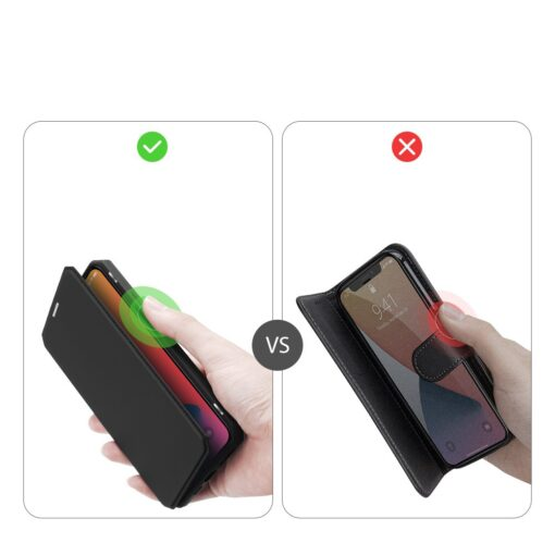 iPhone 12 Pro Max kunstnahast kaaned kaarditaskuga DUX DUCIS Skin X must 9