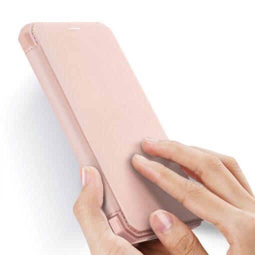 iPhone 12 Pro Max kunstnahast kaaned kaarditaskuga DUX DUCIS Skin X roosa 1