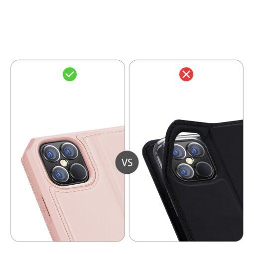 iPhone 12 Pro Max kunstnahast kaaned kaarditaskuga DUX DUCIS Skin X roosa 10