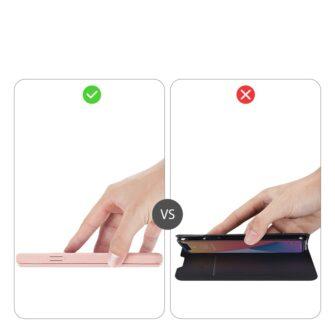 iPhone 12 Pro Max kunstnahast kaaned kaarditaskuga DUX DUCIS Skin X roosa 11
