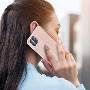 iPhone 12 Pro Max kunstnahast kaaned kaarditaskuga DUX DUCIS Skin X roosa 13