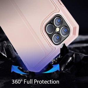 iPhone 12 Pro Max kunstnahast kaaned kaarditaskuga DUX DUCIS Skin X roosa 15
