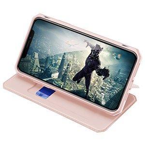 iPhone 12 Pro Max kunstnahast kaaned kaarditaskuga DUX DUCIS Skin X roosa 16