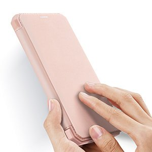 iPhone 12 Pro Max kunstnahast kaaned kaarditaskuga DUX DUCIS Skin X roosa 18