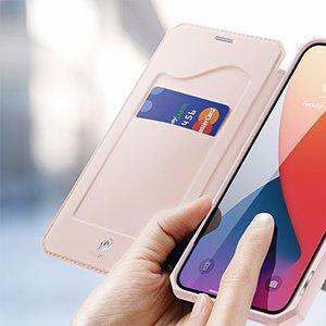 iPhone 12 Pro Max kunstnahast kaaned kaarditaskuga DUX DUCIS Skin X roosa 19