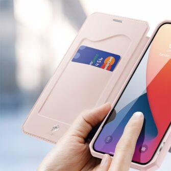 iPhone 12 Pro Max kunstnahast kaaned kaarditaskuga DUX DUCIS Skin X roosa 2