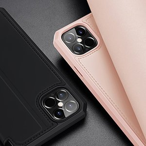 iPhone 12 Pro Max kunstnahast kaaned kaarditaskuga DUX DUCIS Skin X roosa 21