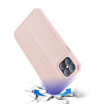 iPhone 12 Pro Max kunstnahast kaaned kaarditaskuga DUX DUCIS Skin X roosa 3
