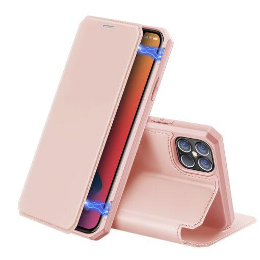 iPhone 12 Pro Max kunstnahast kaaned kaarditaskuga DUX DUCIS Skin X roosa