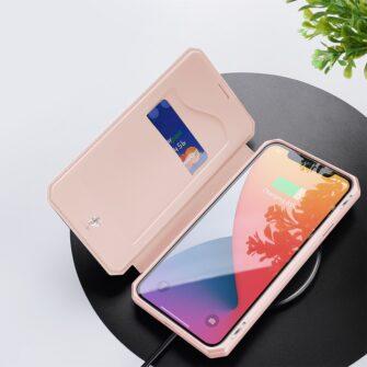 iPhone 12 Pro Max kunstnahast kaaned kaarditaskuga DUX DUCIS Skin X roosa 7