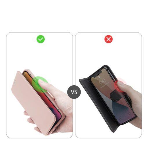 iPhone 12 Pro Max kunstnahast kaaned kaarditaskuga DUX DUCIS Skin X roosa 9