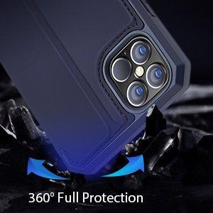 iPhone 12 Pro Max kunstnahast kaaned kaarditaskuga DUX DUCIS Skin X sinine 15
