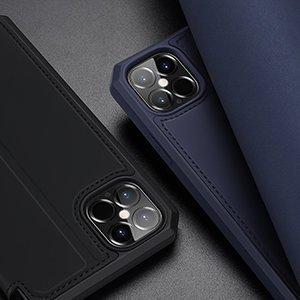 iPhone 12 Pro Max kunstnahast kaaned kaarditaskuga DUX DUCIS Skin X sinine 21