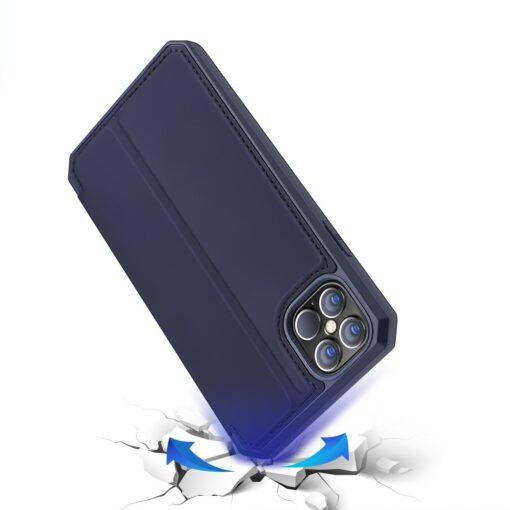 iPhone 12 Pro Max kunstnahast kaaned kaarditaskuga DUX DUCIS Skin X sinine 3