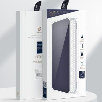 iPhone 12 Pro Max kunstnahast kaaned kaarditaskuga DUX DUCIS Skin X sinine 4