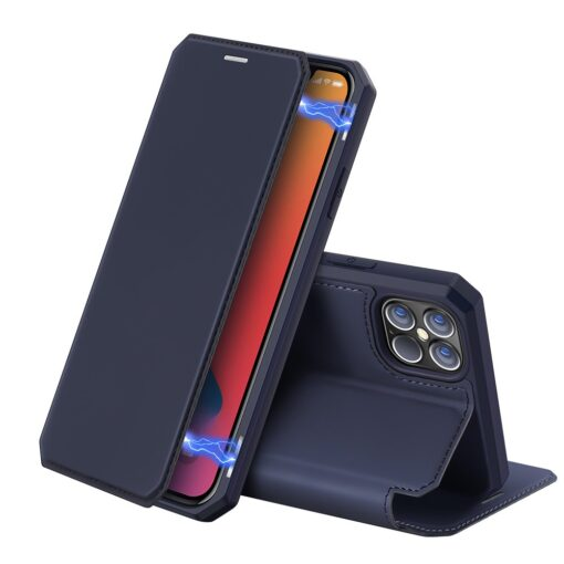 iPhone 12 Pro Max kunstnahast kaaned kaarditaskuga DUX DUCIS Skin X sinine