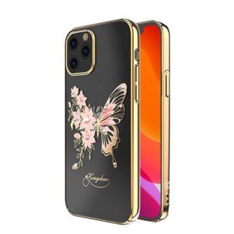 iPhone 12 iPhone 12 Pro umbris Kingxbar Butterfly elastsest plastikust Swarowski kristallikestega kuldne 1